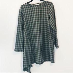 Bryn Walker asymmetrical plaid tunic size L